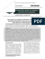 Development and Validation of RP-HPLC Method for the Simultaneous Estimation of Paracetamol and Tramadol Hydrochloride in Tablet Dosage Form