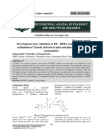 Development and validation of RP – HPLC method for the estimation of Tylosin tartrate in pure and pharmaceutical formulation