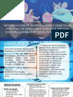 Introducción de Modificaciones Genéticas Precisas en Embriones Humanos