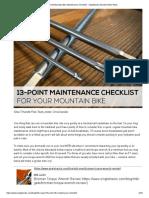 13-Point Mountain Bike Maintenance Checklist - Singletracks Mountain Bike News
