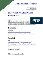 Noticias Del Martes 17.12.2019