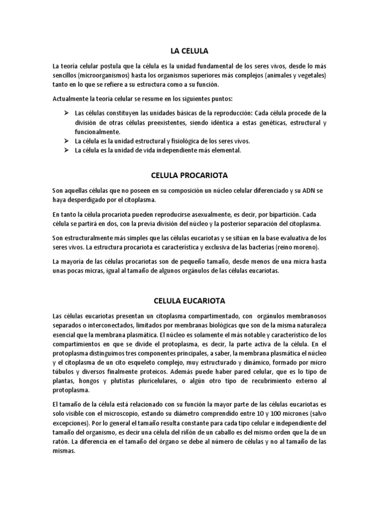 Biologia Docx Célula Biología Organismos