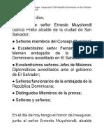 Discurso del Canciller Miguel Vargas  Inauguración Calle San Salvador