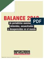BALANCE 2019 de periodistas asesinados, detenidos, secuestrados y desaparecidos en el mundo (RSF)