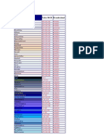 Tabela de Cores - Hexadecimal