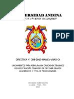 Directiva 004-2019_Aseguramiento calidad trabajos investigacion