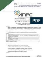 16 NT SCIE - SISTEMAS AUTOMÁTICOS DE EXTINÇÃO POR ÁGUA ref.VII.VI.01 20070531