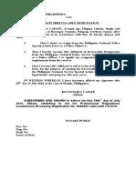 affidavit of irrevocable resignation