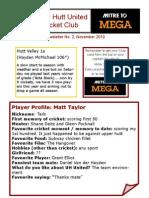 Newsletter 2 Upper Hutt United Cricket Club
