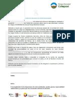 Formulario de Responsabilidad - P.N. Cotopaxi
