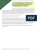 Cómo Añadir Encabezados y Números de Página Según El Estilo APA (American Psychological Association)