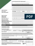 Standard Player Registration Form