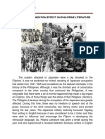 Effect of the Japanese Occupation in the Philippine literature