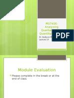 MS7400 - Lecture 11 - Analysing qualitative and quantitatve data