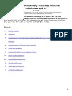 Resources for Internationally Focused Careers, Internships, And Volunteering