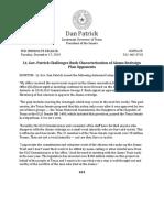 PR 12 17 2019 Lt. Gov. Patrick Challenges Bush Characterization of Alamo Redesign Plan Opponents