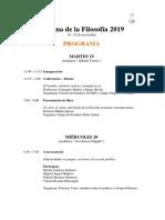 Semana de La Filosofía 2019 - Programa