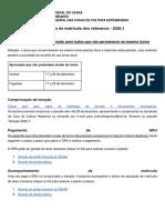 Calendário e orientações de matrícula dos veteranos 2020-1