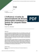 L'influence vivante du personnalisme de Mounier sur la philosophie esthétique et la poésie de Léopold Sédar Senghor