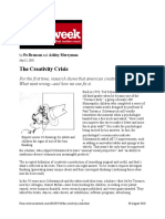 1. the Creativity Crisis Published in Newsweek 2010