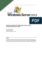 Server Cluster Guide for Windows 2003 Server
