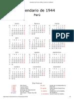 Calendario de Perú de 1944