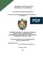 """TESIS Calidad de las tabletas y cápsulas de Lepidium meyenii """"maca"""" comercializadas en establecimientos farmacéuticos y casas naturistas del distrito de Ayacucho - 2004"""