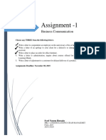 Assignment 1 - Businees Communication