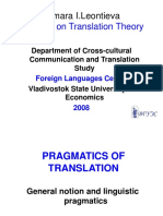 Pragmatics of Translation Lecture One (1)