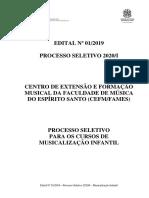MUSICALIZAÇÃO - Edital processo seletivo 2020