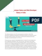 Full Stack Developer Salary and Web Developer Salary in India