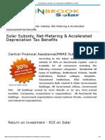 Solar Benefits, Subsidy, Tax, Depreciation _