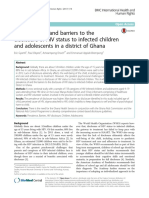 Prevalence of, and barriers to the disclosure of HIV status to infected children and adolescents in a district of Ghana