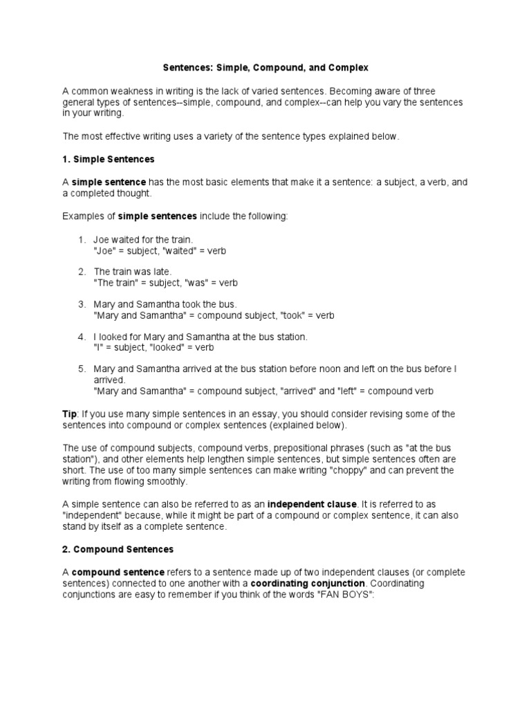Sentence Types | Sentence (Linguistics) | Subject (Grammar)