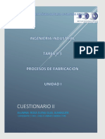 CUESTIONARIO 2 PROCESOS DE FABRICACIÓN