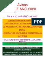 Avisos # 1 Ene 2020