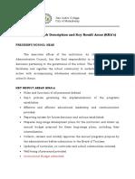 SIC Personnel Job Description and KRA's