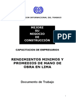 MESUNCO Rendimientos Minimos y Promedios, PERU