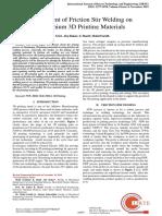 Assessment of Friction Stir Welding on Aluminium 3D Printing Materials