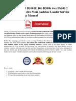 Fiat Kobelco B95 B100 B110b B200b 4ws Fb100 2 Fb110 2 Fb200 2 4ws Mini Backhoe Loader Service Repair Workshop Manual