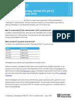 Conducting Cambridge IGCSE ICT (0417) Practical Tests June 2019