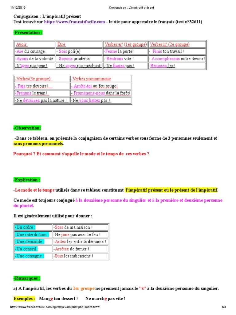 Conjugaison L Imperatif Present Verbe Nombre Grammatical