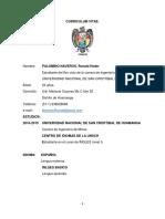 Cv - Estudiante 8vo. Ciclo de Ing. Minas Palomino Naveros,Ronald Heder