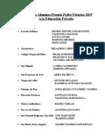 Nómina de Alumnos Premio Pedro Palacios  2019 Escuelas Privadas