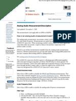 Audio Measurement Description