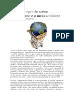 Artigo de opinião sobre consumismo e o meio ambiente