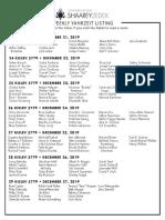 December 21, 2019 Yahrzeit List