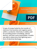 Scence Ppt on Technique to Save Electricity
