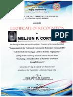 MELJUN CORTES TCU 2017 Certificate of Recognition 6th University Research Festival August 2017