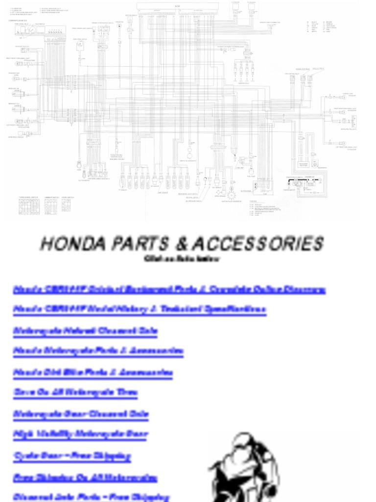 Honda Cbr600 F4 I Cbr 600 Electrical Wiring Harness Diagram Schematic 2001 06 Pdf